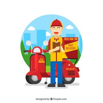 Smiley delivery man met vlak ontwerp