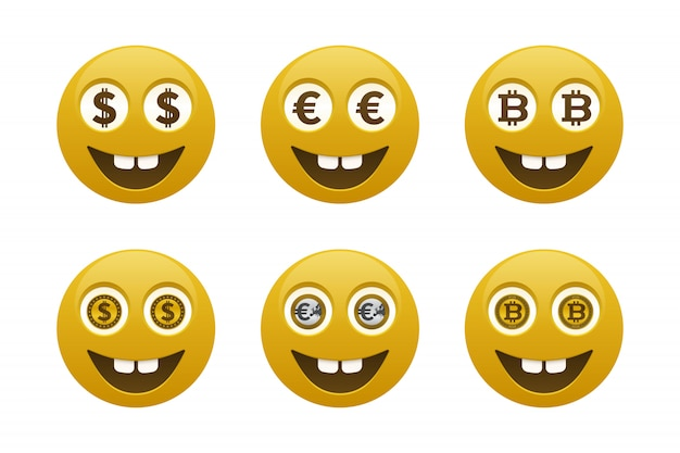 Smiley-emoticons met valuta's