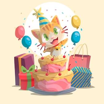 Smiley geïllustreerde verjaardagskat Premium Vector