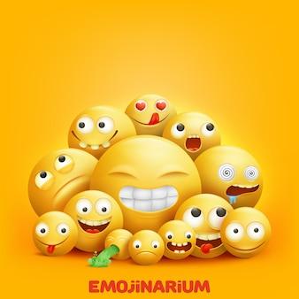 Smiley kijkt naar 3d groep emoji-personages met grappige gezichtsuitdrukkingen
