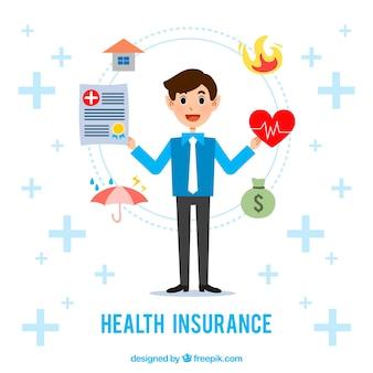 Smiley man met verzekeringspictogrammen