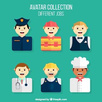 Smiley mannelijke avatars met verschillende banen