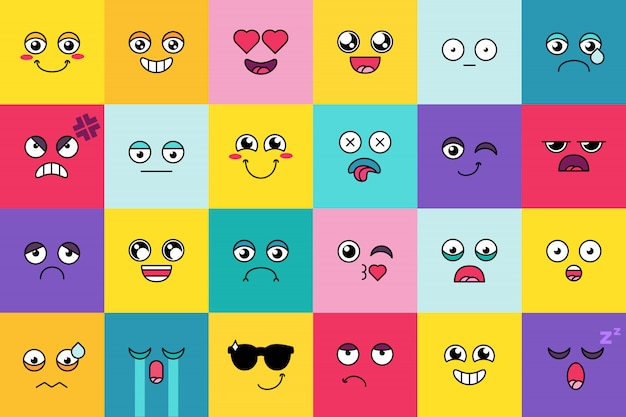 Smiley, schattige emoji-sticker set. leuke moticon, sociale media cartoon gezicht pack. stemming expressie