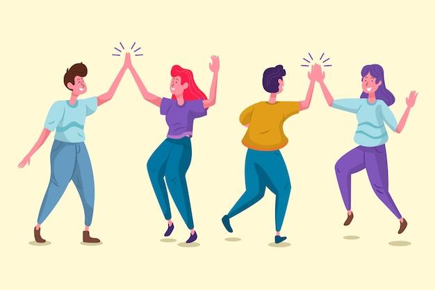 Smiley staande mensen geven high five