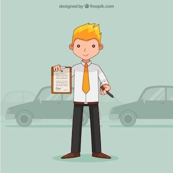 Smiley verkoper karakter bedrijf contract