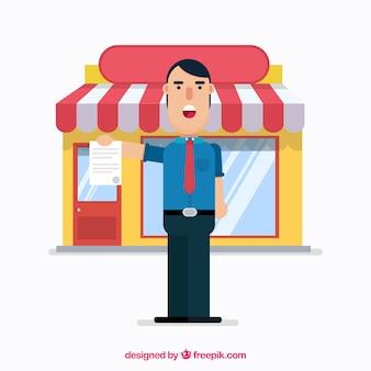 Smiley-verkoper met plat ontwerp