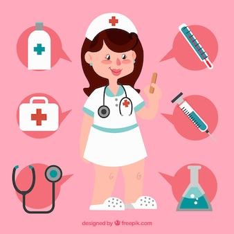 Smiley verpleegkundige en medische hulpmiddelen met vlak ontwerp