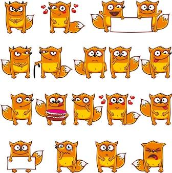 Smiley-vossen individueel gegroepeerd voor eenvoudig kopiëren en plakken.