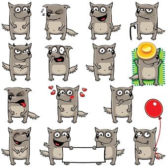 Smiley-wolven afzonderlijk gegroepeerd voor eenvoudig kopiëren en plakken.