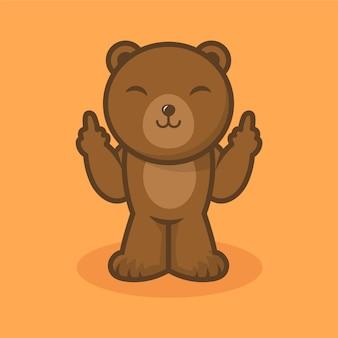 Smileybeer die het fuck you-symbool toont