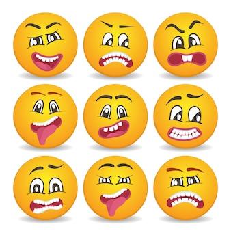 Smileygezichten met verschillende gezichtsuitdrukkingen