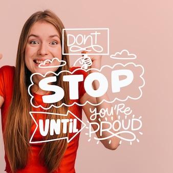 Smileyvrouw stopt niet voordat je trots bent op letters