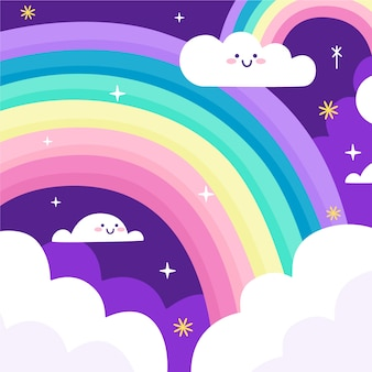 Smileywolken en regenboog in de nacht