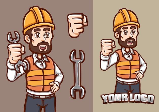 Smilling arbeid toont zijn vuist mascotte karakter illustratie