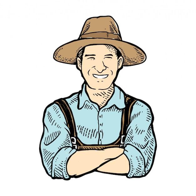 Smilling boer met hoed