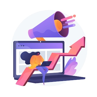 Smm, internetpromotie, online advertenties. aankondiging, marktonderzoek, omzetgroei. marketeer met laptop en luidspreker stripfiguur. vector geïsoleerde concept metafoor illustratie.