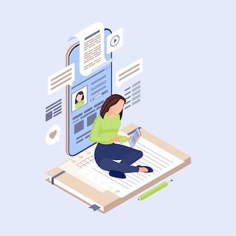 Smm-manager, inhoudschrijver, tekstschrijver die berichten op sociale media maakt