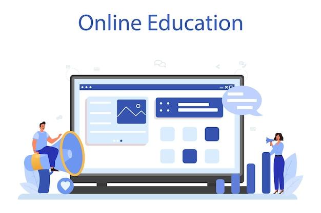 Smm online service of platform. reclame voor bedrijven op internet via sociale netwerken. online onderwijs. geïsoleerde vlakke afbeelding