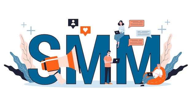 Smm sociale media marketingconcept. reclame voor bedrijven op internet via sociale netwerken. vind en deel inhoud. illustratie