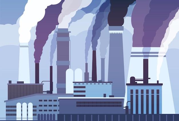 Smogvervuiling. industriële fabriekspijpen, uitstoot van zware chemicaliën.