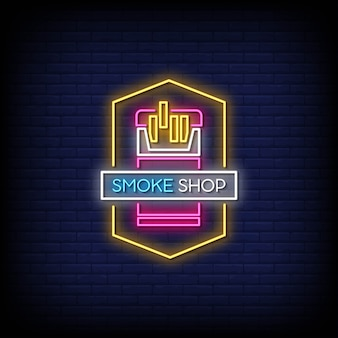 Smoke shop neon signs style text