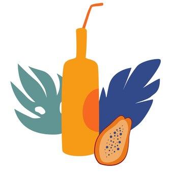 Smoothie drink fruitsap fles met papaya. zomerdrankje voor ontspanning. sweet papaya is lekkere limonade in flesjes.