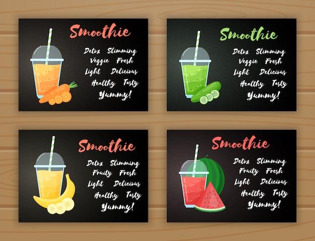 Smoothie fruit cocktail logo vlakke afbeelding set
