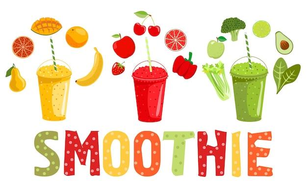 Smoothie groenten en fruit cartoon smoothies in een vlakke stijl sinaasappel aardbei bessen smoothie