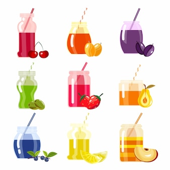 Smoothie menu decoratieve pictogrammen