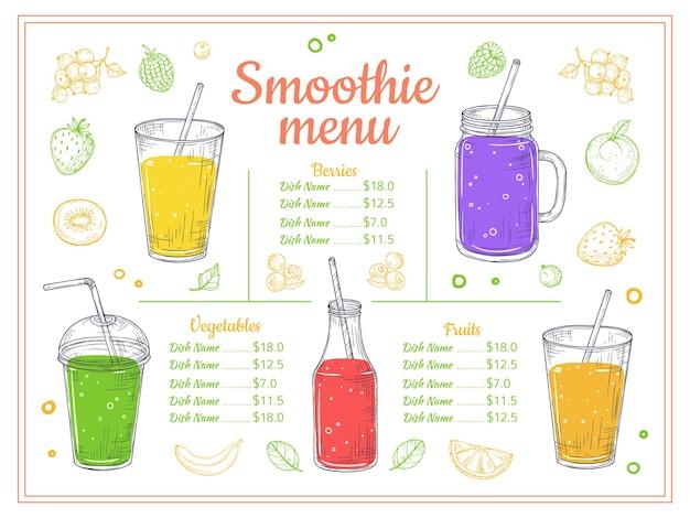 Smoothie menusjabloon. koude dranken, zomerse shakes en cocktails.