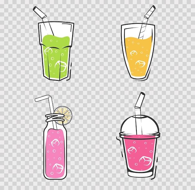 Smoothie set drankjes schudt illustratie