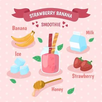 Smoothie van aardbei en banaan
