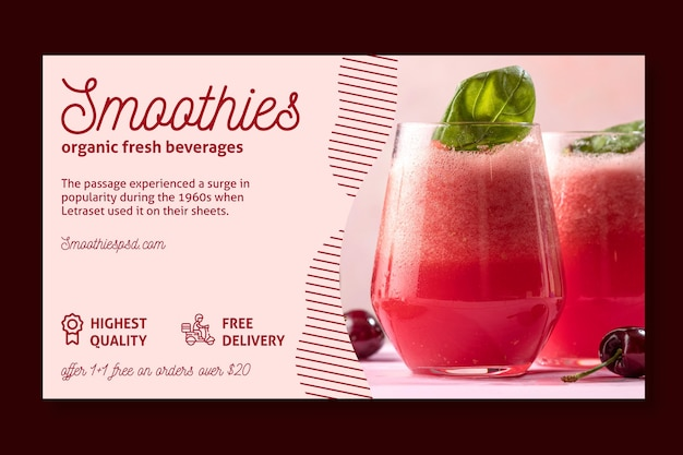 Smoothies bar horizontale banner sjabloon