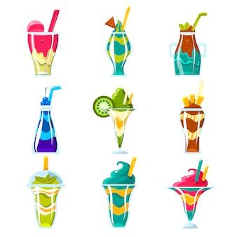 Smoothies en heldere meerlagige cocktails collectie