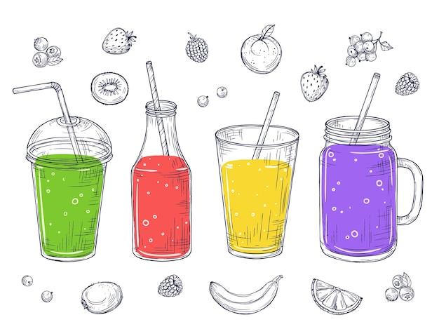 Smoothies. gezond vruchtensap, schetsdrankjes.