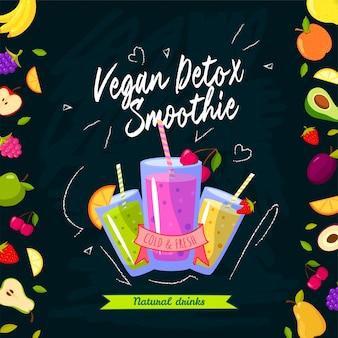 Smoothies tijd. vectorillustratie met verschillende smoothies en fruit op zwarte achtergrond