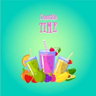Smoothies tijd. vectorillustratie met verschillende smoothies en fruit