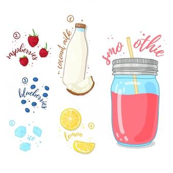 Smoothies wilde bessen en kokosmelk. melk smoothie met frambozen, bosbessen en kokosmelk. receptbes, verse smoothie in een glazen pot. bessencocktail voor een gezond vegetarisch dieet.