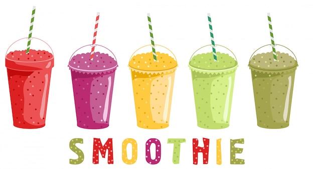 Smoothieset. fruit drankjes. haal bekers weg met smoothie of verse sappen. heldere gezonde dranken illustratie