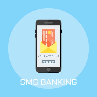 Sms bankieren plat ontwerp stijl illustratie, smartphone op het scherm toont envelop met creditcard