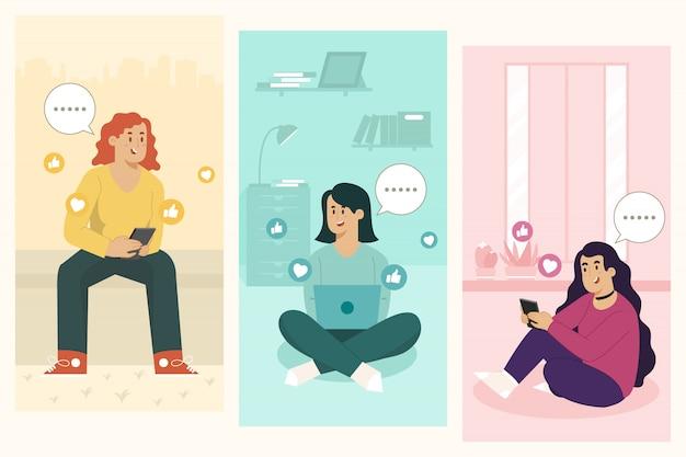 Sms-concept chatten met vrienden
