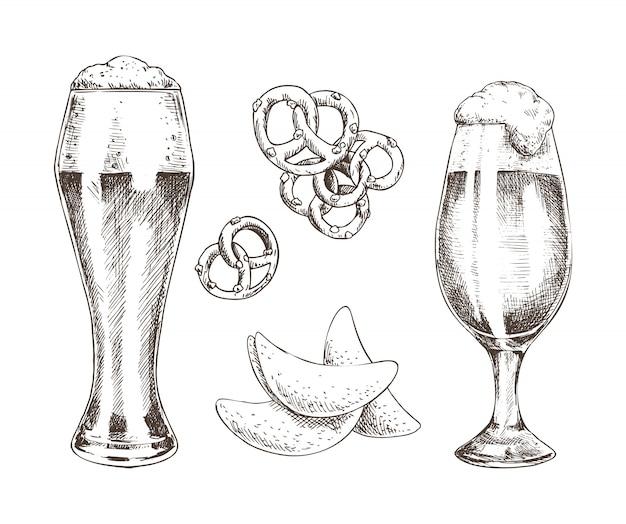 Snack food en schuimend bier in glazen grafische kunst
