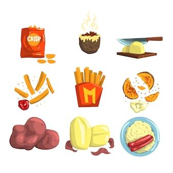 Snacks en gekookte aardappelproducten illustraties op een witte achtergrond