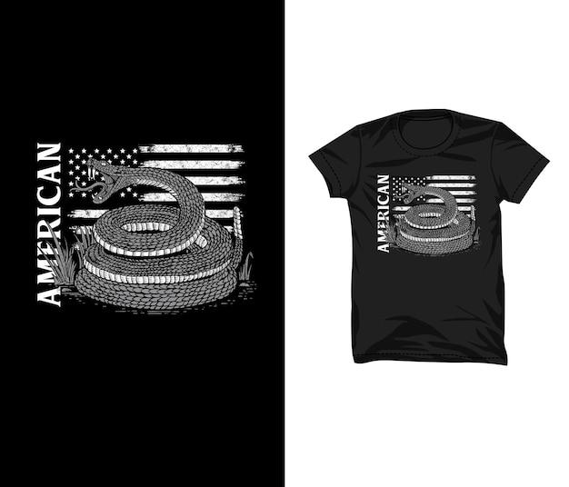 Snake american flag lllustration tshirt design