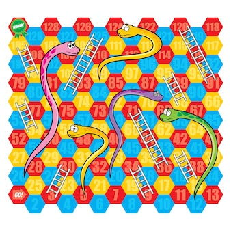 Snake and ladder board game vector set