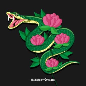 Snake met bloemen achtergrond