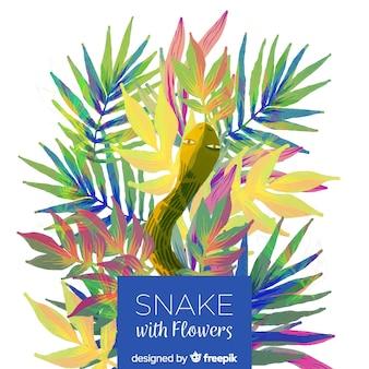Snake met bloemen illustratie