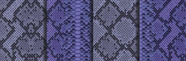 Snake skin animal blue naadloze patronen set