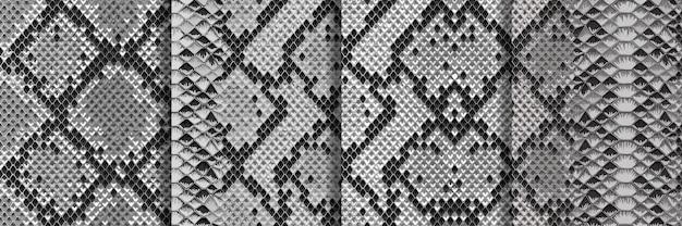 Snake skin naadloze patronen set herhaal dierlijke achtergronden