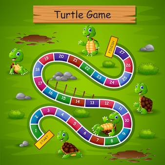 Snakes ladders game turtle theme